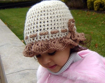 PDF Instant Download Crochet Pattern No 071 Ruffled Scalloped Hat All sizes Baby Toddler Child Adult