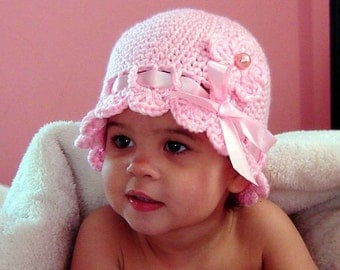 PDF Instant Download Crochet Pattern No 074 Pink Hat With a Ribbon Bow and a Flower All Sizes Baby  Toddler Child Adult