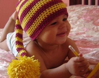 PDF Striped Long  Tail Pom Elfin Hat  DOWNLOADABLE Crochet Pattern No 042