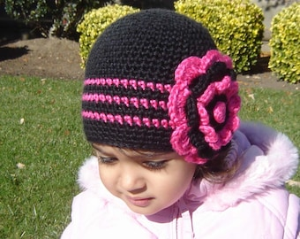 PDF Instant Download Easy Crochet  Pattern No 066 Big Flower Beanie ALL sizes baby toddler child adult