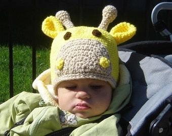 Instant Download Crochet PDF PATTERN No024 Giraffe Beanie