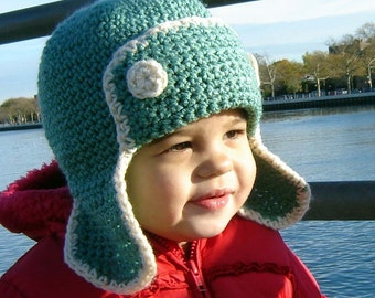 PDF Instant Download Crochet Pattern No059 Green Earflap ALL sizes baby toddler child adult