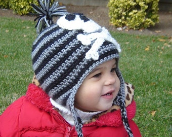 PDF Instant Download Crochet Pattern No 067 Pirate Earflap Hat ALL Sizes Baby Toddler Child Adult