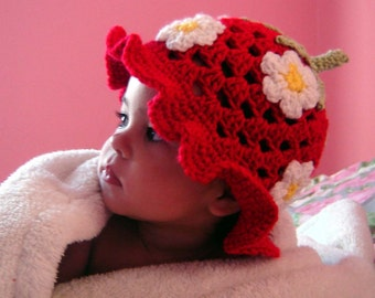PDF Instant Download Crochet Pattern No 033 Strawberry Hat