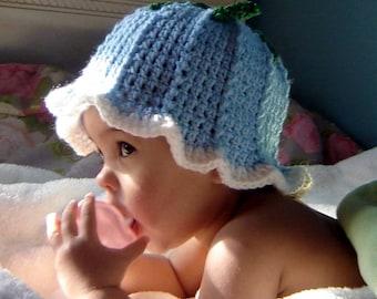 PDF Instant Download Crochet PATTERN No 036 Blue Bell Hat