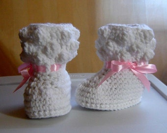 PDF Instant Download Crochet Pattern No 092 White Baby Booties Sizes preemie, 0 - 3 - 6 - 9 - 12 months