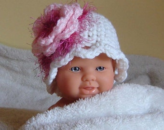 PDF Instant Download Easy Crochet PATTERN no 109 Flower Cloche All sizes from Newborn to Adult