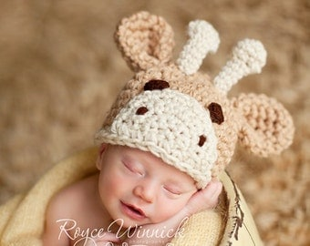 PDF Instant Download easy Crochet PATTERN No 208  Little Giraffe Chunky yarn photo prop sizes preemie, newborn. 0-3, 3-6 months