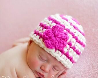 PDF Download Easy Crochet Pattern No 216 Basic Striped Beanie Chunky yarn photo prop sizes preemie, newborn. 0-3, 3-6 months