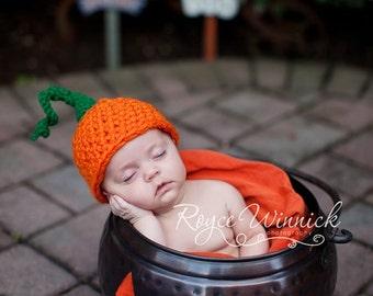 PDF Instant Download Easy Crochet Pattern No 232 Pumpkin Hat Sizes preemie, newborn, 0-3, 3-6 months