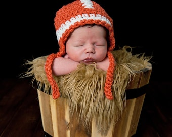 PDF Instant Download Easy Crochet Pattern No 234 Football Earflap Chunky yarn photo prop sizes preemie, newborn. 0-3, 3-6 months
