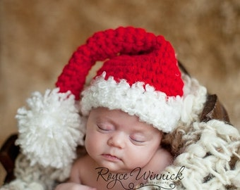 PDF Instant Download Easy Crochet Pattern No 238 Santa Hat Chunky Yarn photo prop sizes preemie, newborn. 0-3, 3-6 months