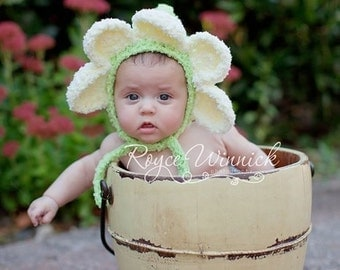 PDF Instant Download Crochet  PATTERN No 245 Daisy Bonnet photo prop sizes preemie, newborn. 0-3, 3-6 months