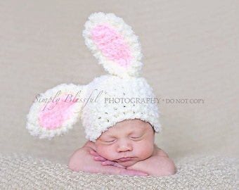 PDF Instant Download Easy Crochet Pattern No 248 Bunny Beanie photo prop sizes preemie, newborn. 0-3, 3-6 months