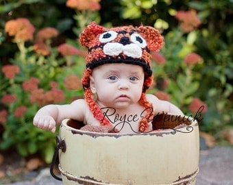 PDF Instant Download Crochet Pattern No 249 Tiger Earflap Hat and photo prop sizes preemie, newborn. 0-3, 3-6 months