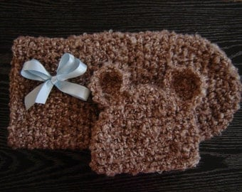 PDF Instant Download Easy Crochet  PATTERN No 254 Bear Set Cocoon and Beanie photo prop sizes preemie, newborn. 0-3, 3-6 months