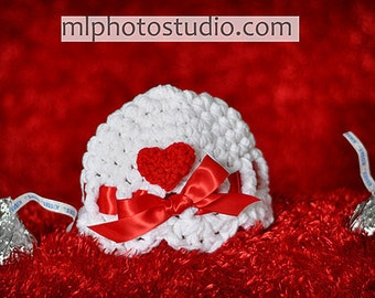 PDF Instant Download Easy Crochet Pattern No 097 The  Ribbon and the Heart  Scalloped Beanie Sizes from Preemie to Adult