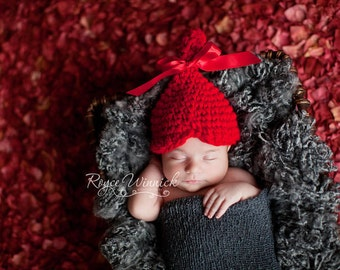 PDF Instant Download Easy Crochet Pattern No 098  Red Heart Hat Chunky yarn photo prop sizes preemie, newborn. 0-3, 3-6 months