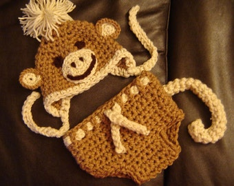 PDF Instant Download Crochet PATTERN No  256 Monkey Set Hat and Diaper cover Chunky yarn photo prop sizes preemie, newborn. 0-3, 3-6 months