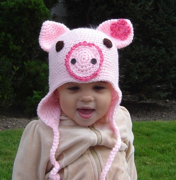 PDF Instant Download Easy Crochet Pattern No 32 Piggy Earflap sizes baby toddler child adult