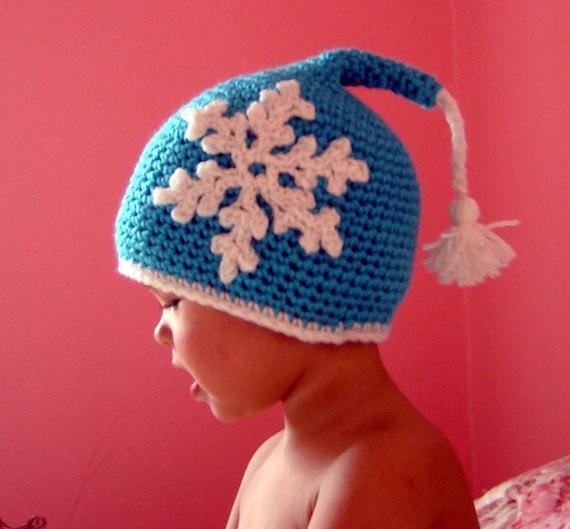 PDF Instant Download Crochet Pattern No 055  Snowflake Tassel Elfin Hat all sizes baby toddler child adult