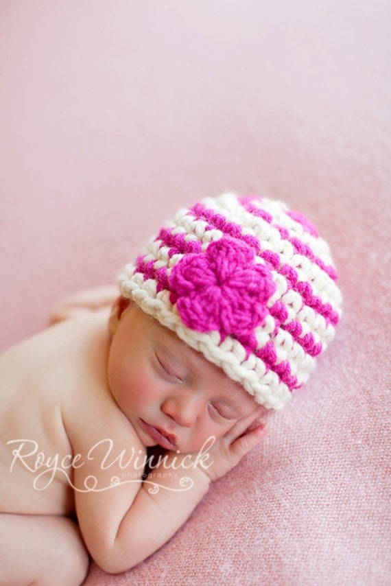 PDF Download Easy Crochet Pattern No 216 Basic Striped Beanie Chunky yarn photo prop sizes preemie, newborn. 0-3, 3-6 months