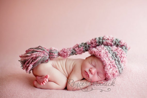 PDF Instant Download Easy Crochet Pattern No 224  Big Tassel Elf Hat Photography Prop Sizes preemie, newborn, 0-3, 3-6 months