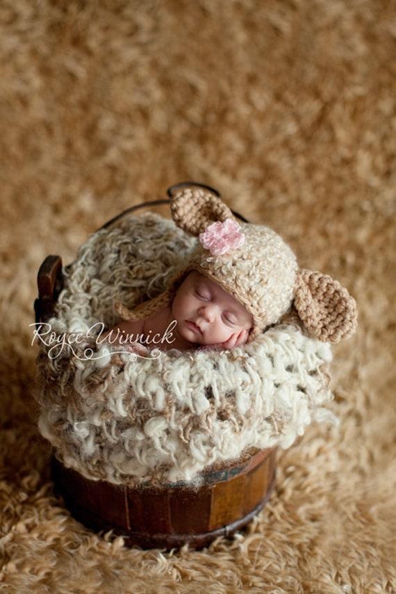 PDF Instant Download Easy Crochet Pattern No 229 Little Lamb photo prop sizes preemie, newborn. 0-3, 3-6 months