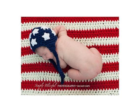 PDF  Instant Download Crochet Pattern No 242 American Flag Set Chunky yarn photo prop sizes preemie, newborn. 0-3, 3-6 months