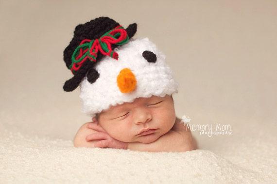 PDF Instant Download Easy Crochet Pattern No 237 Snowman photo prop sizes preemie, newborn. 0-3, 3-6 months