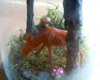 Forest terrarium sample with deer