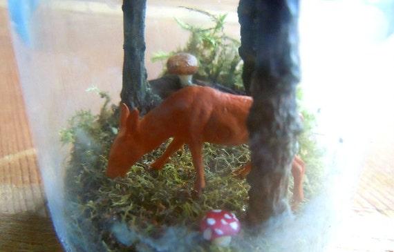Forest terrarium sample with deer