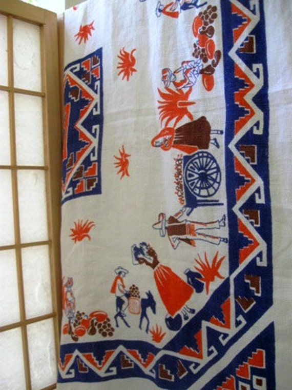 Vintage orange and blue Southwestern tablecloth