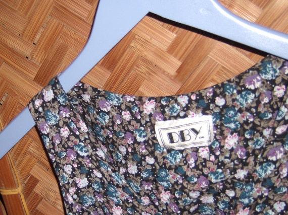 Vintage black floral short Summer Dress by DBY Inc