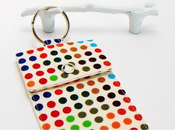 Business Card Case Keychain / Rainbow Polka Dot