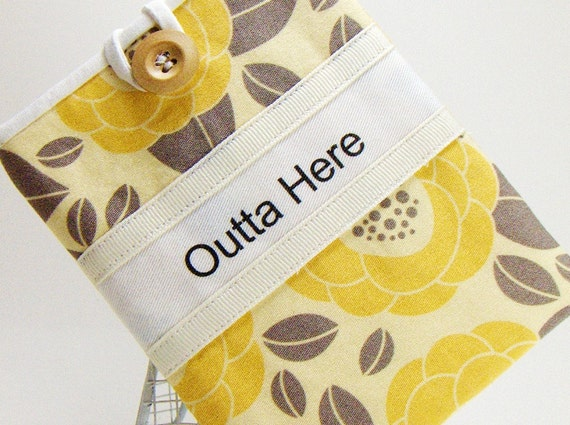 passport pocket cover case handmade 'yellow dahlia'