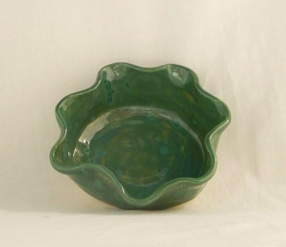 Sculpted Green Ceramic Candy Dish