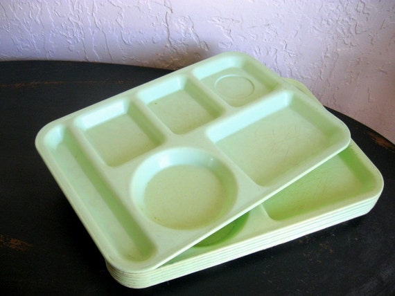 Mid-century Cafeteria Lunch Trays Mint Green