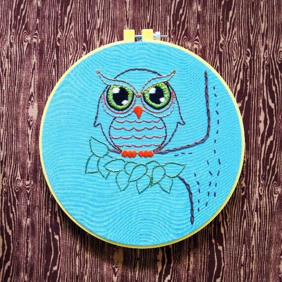 Woodland Owl Embroidery PDF Pattern