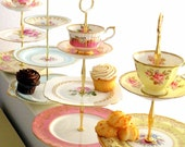High Tea for Alice 1 CUSTOM 3-Tier Tea & Cupcake Stand of Vintage Fine China to Match Wedding Colors, Birthday Party or Home Decor Scheme
