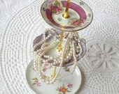 Alice Dreams of Courting, Pink & Purple Vintage China 3 Tier Jewelry Stand Display or Mini Tea Tray for Cupcakes and Candy -- FREE SHIPPING