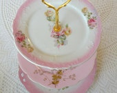 Alice Stays in a Pink Victorian no. 3, Vintage China Plated 3 Tier Cupcake Stand for High Tea, Wedding Sweets Table or Birthday Party
