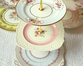 Alice Cheers Up, Pink & Pale Blue Cupcake Stand of Vintage China, 3 Tier Display for Baby Shower, Birthday, Wedding or Tea Party Centerpiece