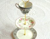 Alice Wears Toile, Black & White Vintage China Jewelry Stand Display or High Tea Party Centerpiece in 3 Tiers -- FREE SHIPPING
