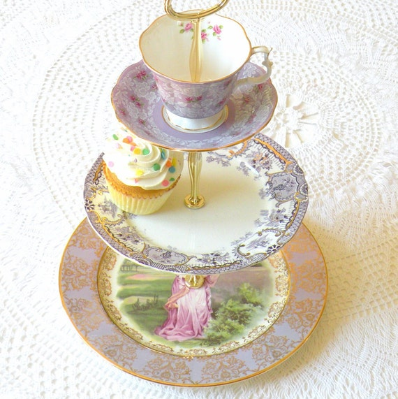 Alice And The Purple Fantasy 3 Tier Cupcake Stand Display In