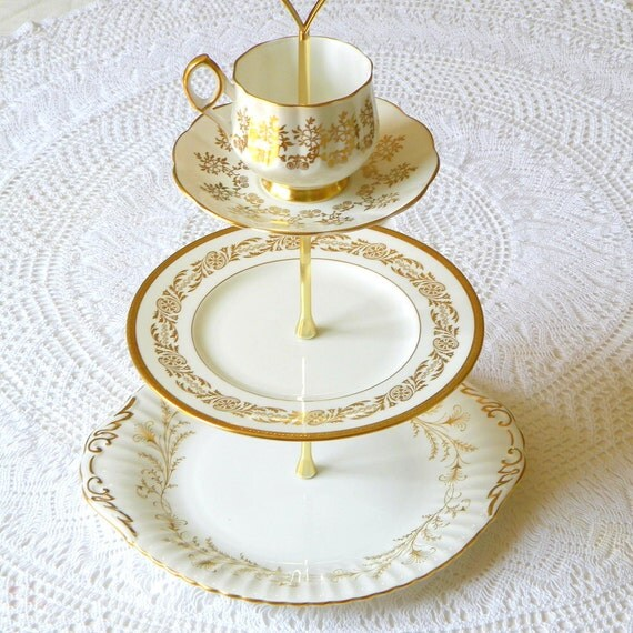 Alice Sips Golden Tea, Vintage China Cake Tray or Cupcake Stand, 3 Tiered for an Elegant Wedding, Dinner Party or High Tea