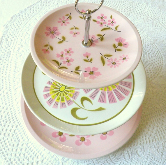 SALE The Mod Hostess Stand, 3 Tier Pink Cupcake Stand, Daisy Vintage Plates Display Centerpiece for Wedding, Shower or Girls Birthday
