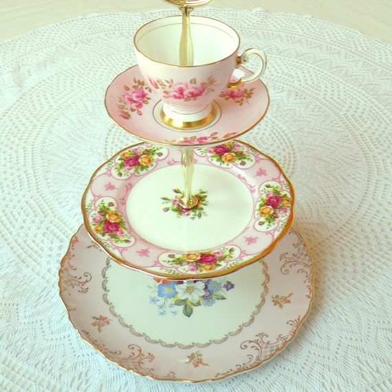 Alice Goes to London, Roses & Pink 3 Tier Cupcake Stand or Tea Tray of Vintage China for Wedding Sweets, Girls Birthday or Bridal Shower