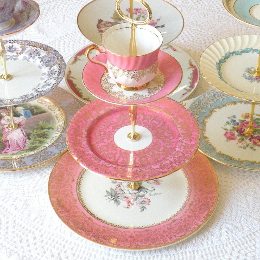 alice sips pink lemonade vintage china 3 tier cupcake stand. Black Bedroom Furniture Sets. Home Design Ideas