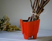 Vintage Pottery Planter, Frankoma Flame Red 39